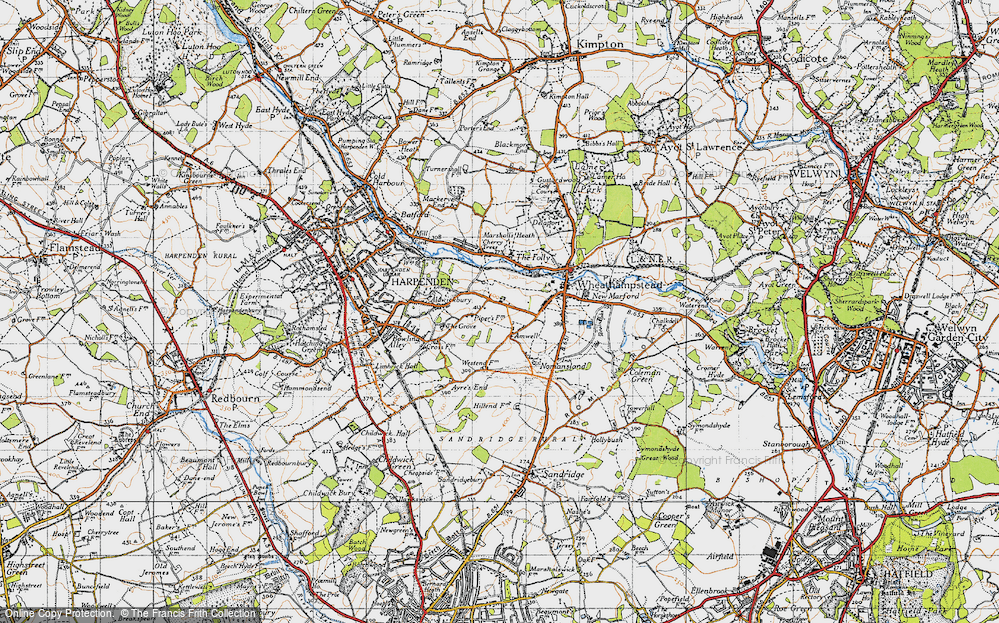 Old Map of Amwell, 1946 in 1946