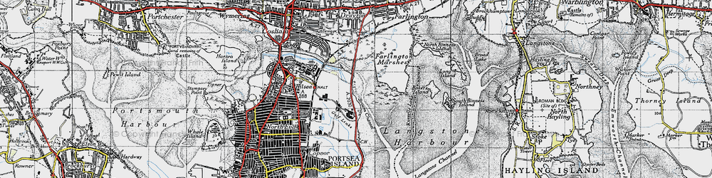 Old map of Langstone Harbour in 1945