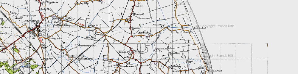 Old map of Anderby in 1946