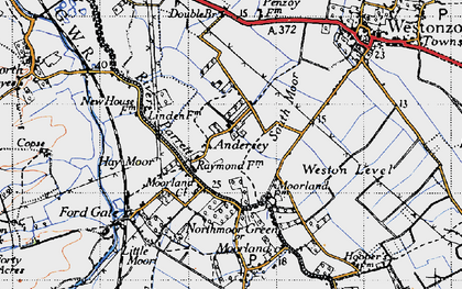 Old map of Weston Level in 1945