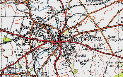 Old map of Andover in 1945