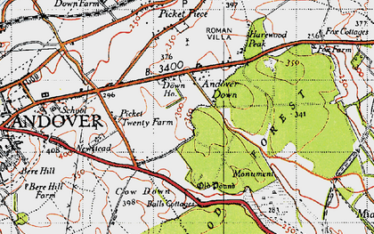 Old map of Balls Cotts in 1945