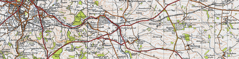 Old map of Andoversford in 1946
