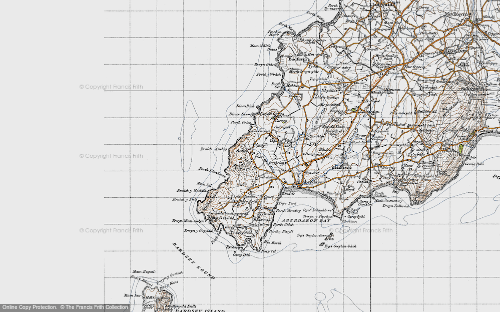 Old Map of Historic Map covering Afon Saint in 1947
