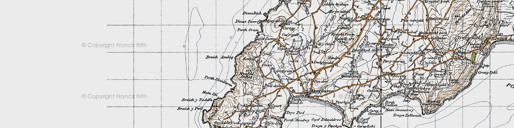 Old map of Afon Saint in 1947