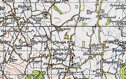 Old map of Angersleigh in 1946