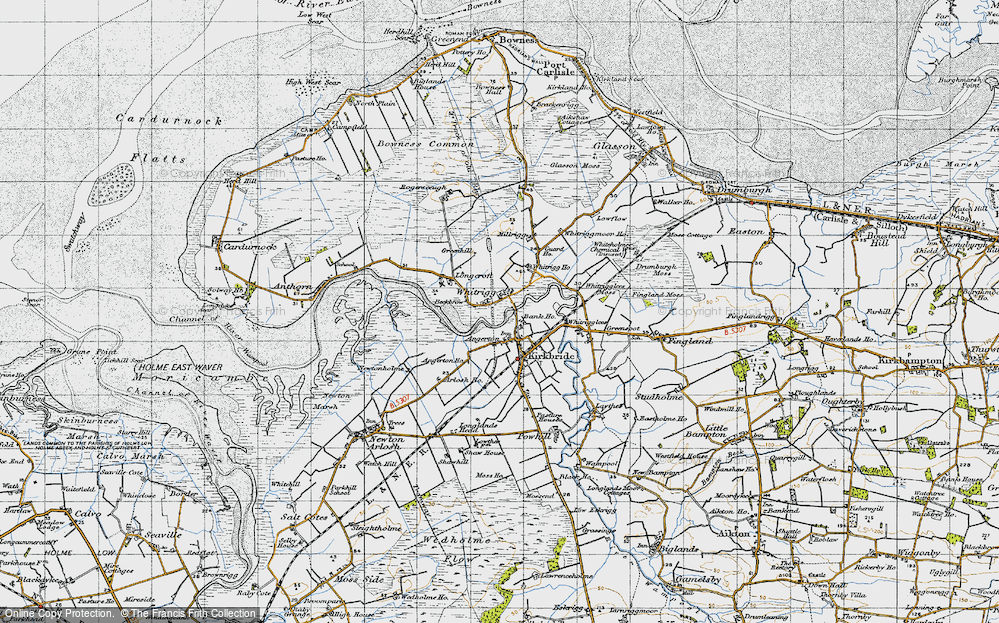 Old Map of Historic Map covering Whitrigg Ho in 1947