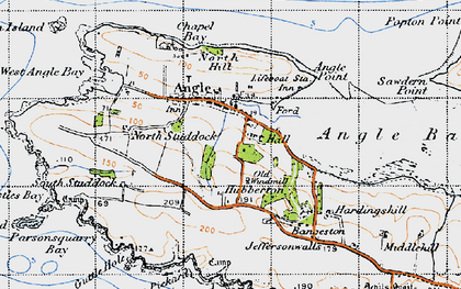 Old map of Angle in 1946