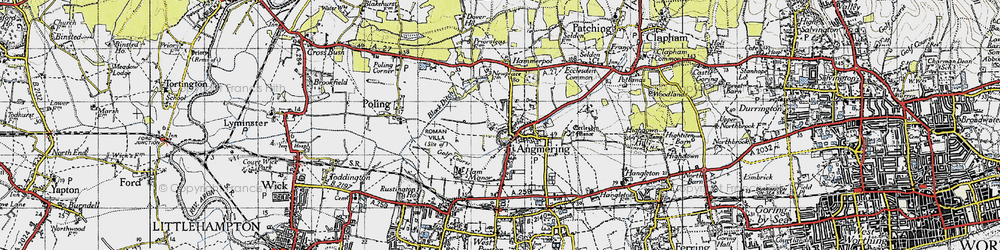 Old map of Angmering in 1945