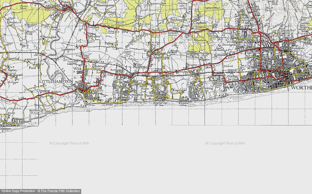 Old Map of Angmering-on-Sea, 1945 in 1945