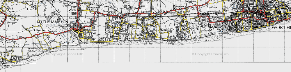 Old map of Angmering-on-Sea in 1945