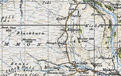 Old map of Thwaite Common in 1947