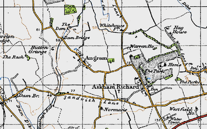 Old map of Angram in 1947