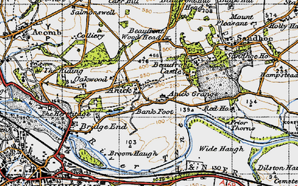 Old map of Anick Grange in 1947
