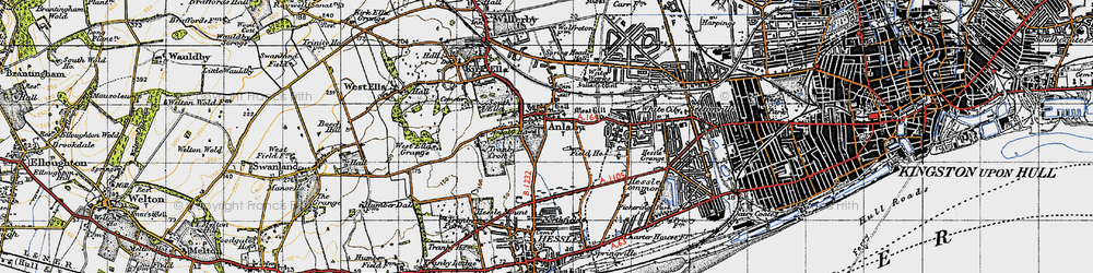 Old map of Anlaby in 1947