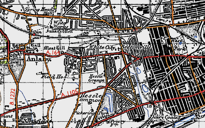 Old map of Anlaby Park in 1947