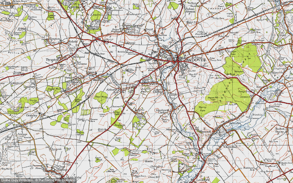 Old Map of Anna Valley, 1945 in 1945