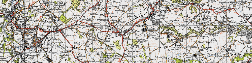 Old map of Annfield Plain in 1947