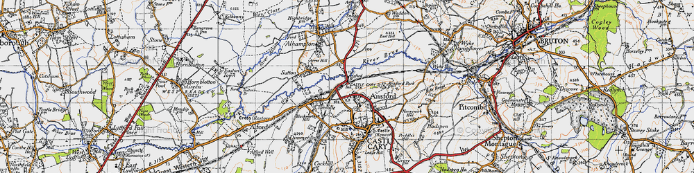 Old map of Ansford in 1945