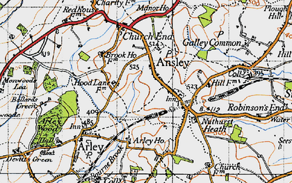 Old map of Ansley in 1946
