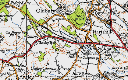 Old map of Ansley Common in 1946