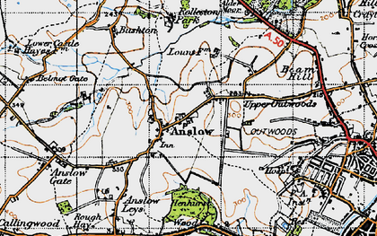 Old map of Anslow in 1946