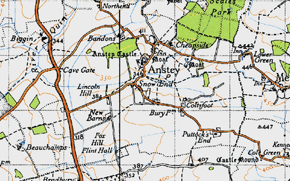 Old map of Anstey in 1946