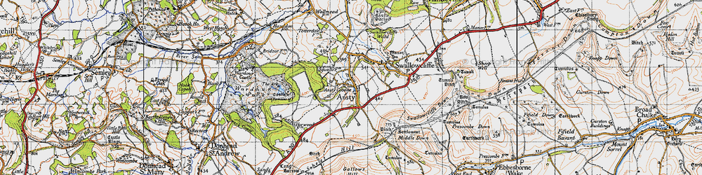 Old map of Ansty in 1940