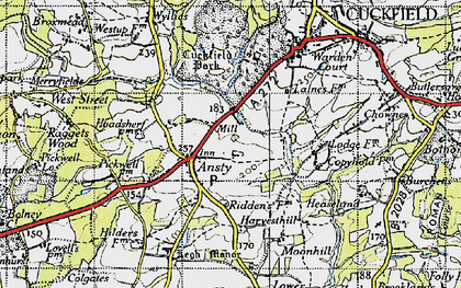 Old map of West Riddens in 1940