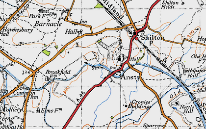 Old map of Ansty in 1946