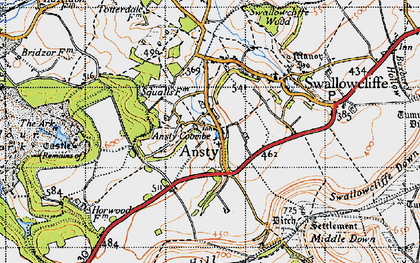 Old map of Ansty Coombe in 1940