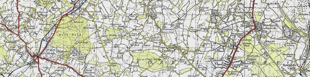 Old map of Anthill Common in 1945