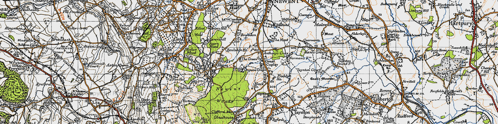 Old map of Anthony's Cross in 1947