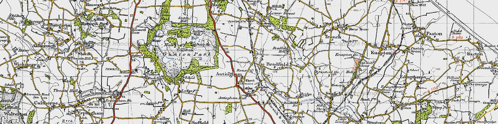 Old map of Antingham Hall in 1945