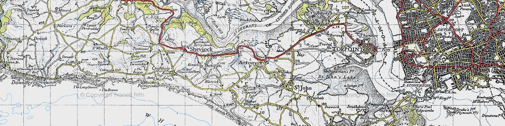 Old map of Antony in 1946