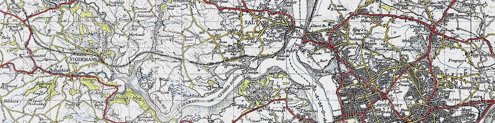 Old map of Antony Passage in 1946