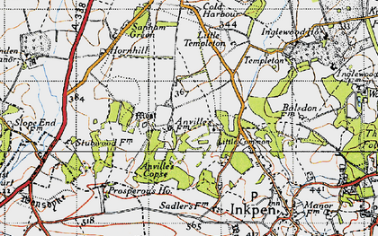 Old map of Anvilles in 1945