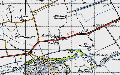 Old map of Anwick in 1946