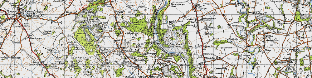 Old map of Apley Forge in 1946