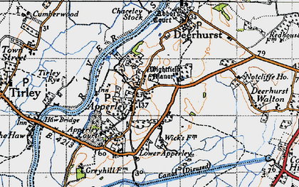 Old map of Wightfield Manor in 1947