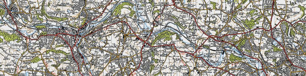 Old map of Apperley Bridge in 1947