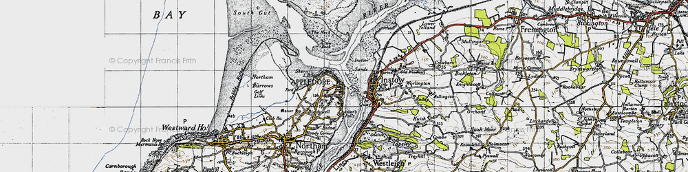 Old map of Appledore in 1946