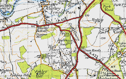 Old map of Applehouse Hill in 1947