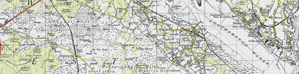 Old map of Yew Tree Heath in 1945