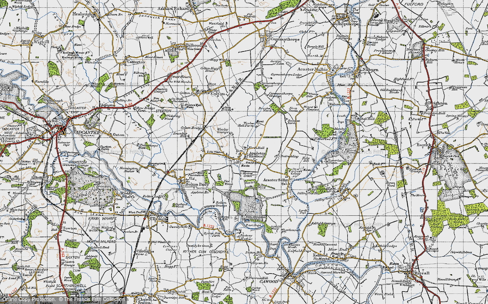 Old Map of Historic Map covering Woolas Grange in 1947