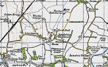 Old map of Appleton Roebuck in 1947