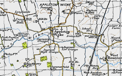 Old map of Appleton Wiske in 1947