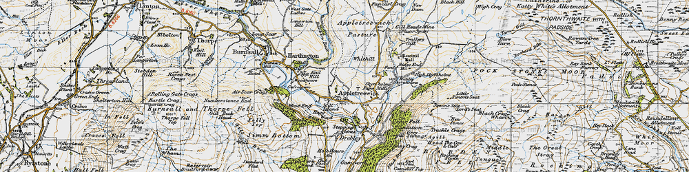 Old map of Appletreewick in 1947