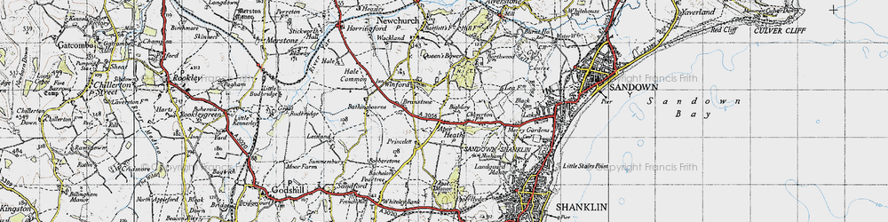 Old map of Apse Heath in 1945