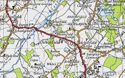 Old map of Arborfield in 1940